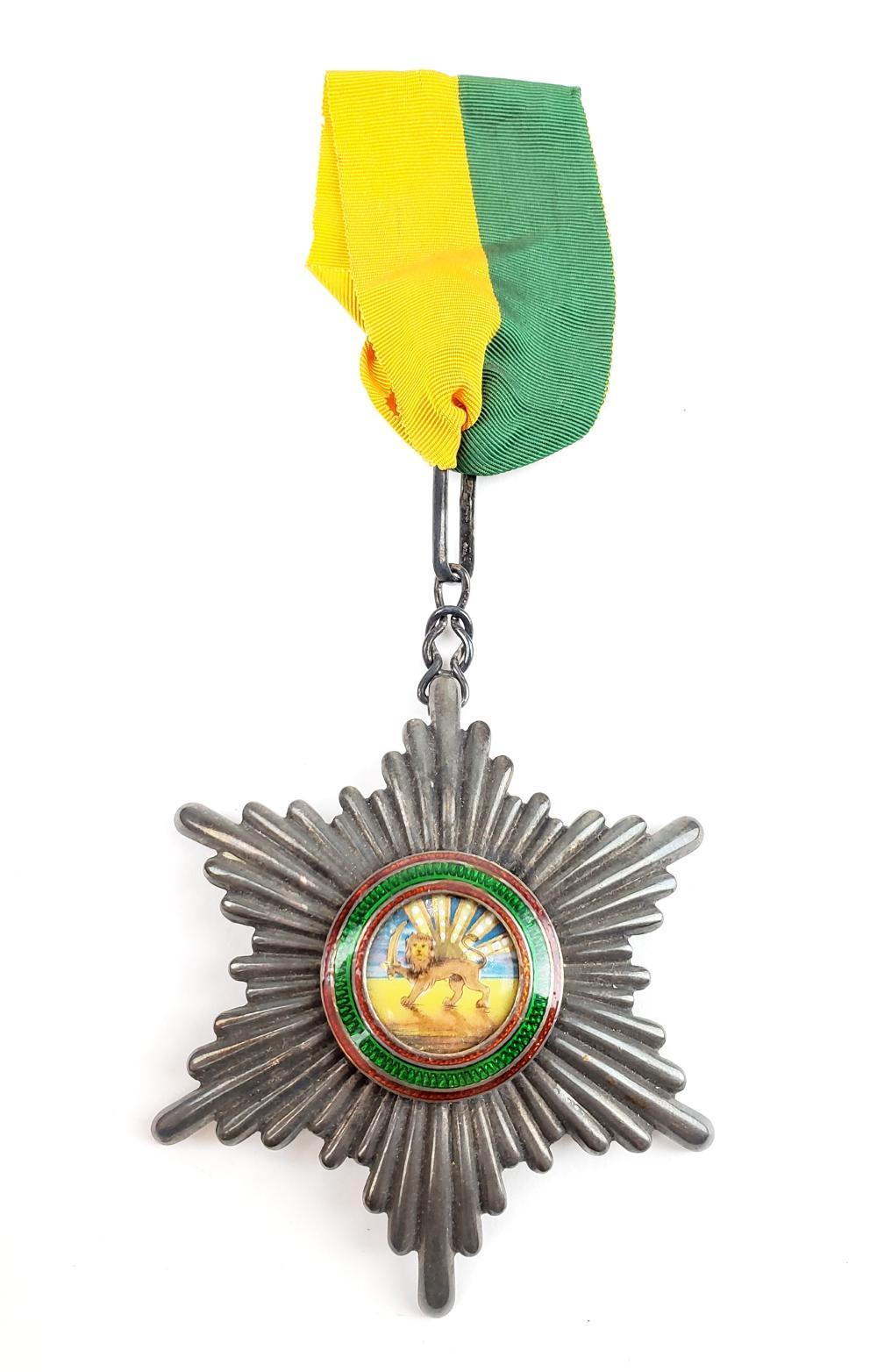 Palhavi Sterling Silver Enameled Lion & Sun Medal by Arthus Bertnard Paris