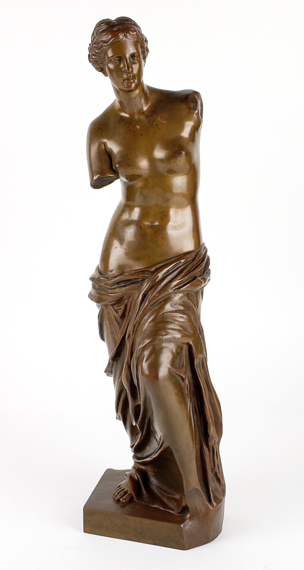 "19th C. Bronze Statue""Venus V. Milo"" Louvre Paris Signed"