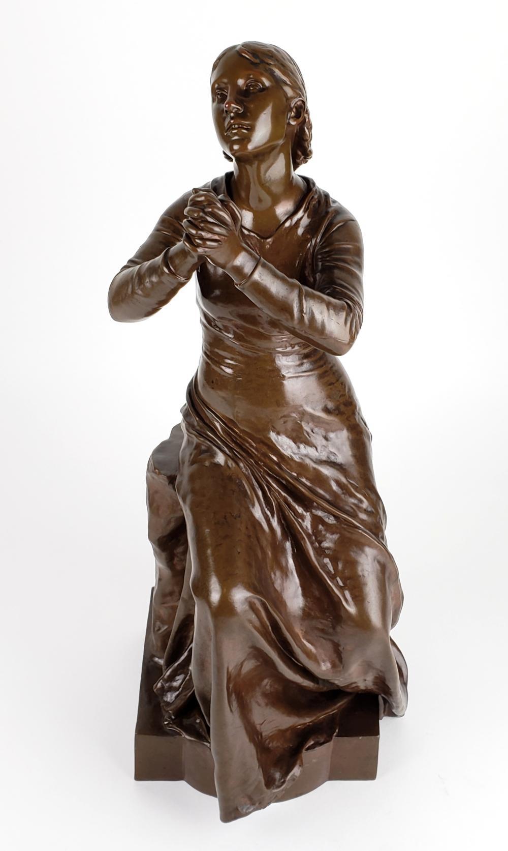 19th C. F. Barbedienne Bronze Statue Signed F. Dubois