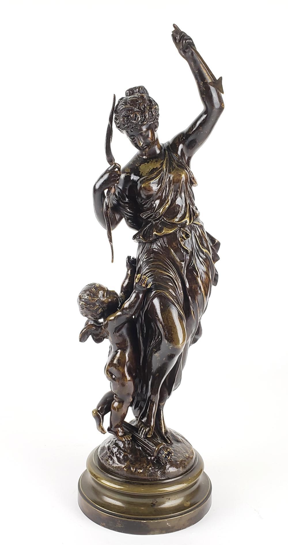 19th C. Bronze Statue of Woman Archer Signed Moreau