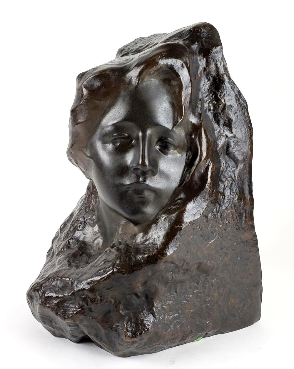 """19th C. Bronze Statue """"Face on Stone"""" Signed"""