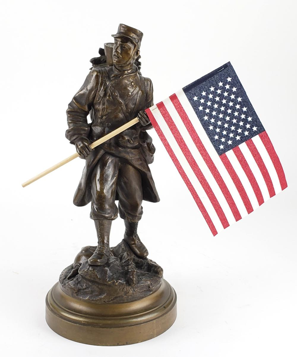 19th C. Bronze Figure of Soldier Signed Rousseau