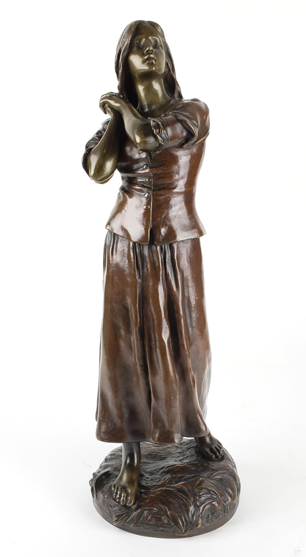 19th C. Bronze Figure of Jeanne D'Arc by Raoul Larche, Signed