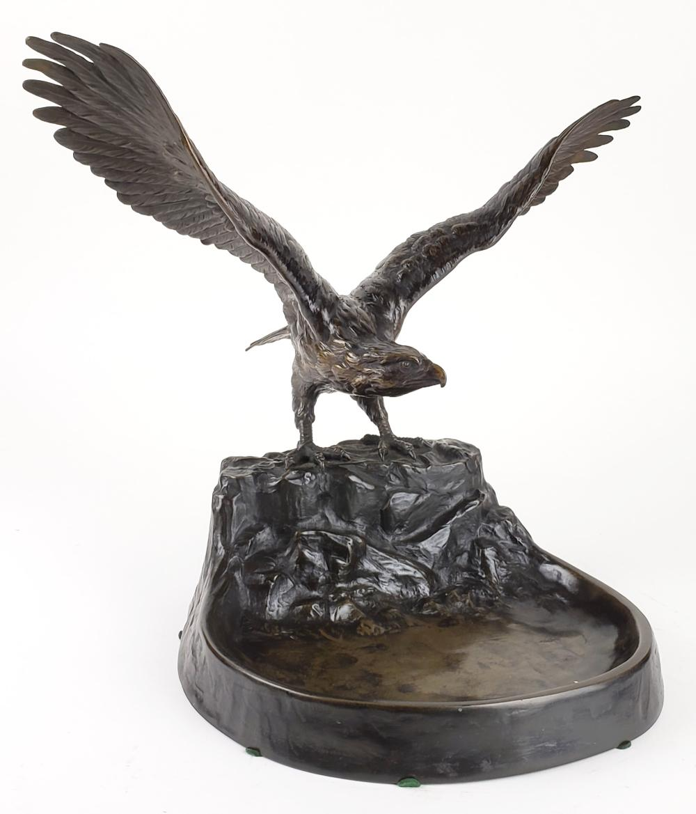 "Magnificent 19th C. Bronze Statue of Eagle Signed ""C.Sadek"""