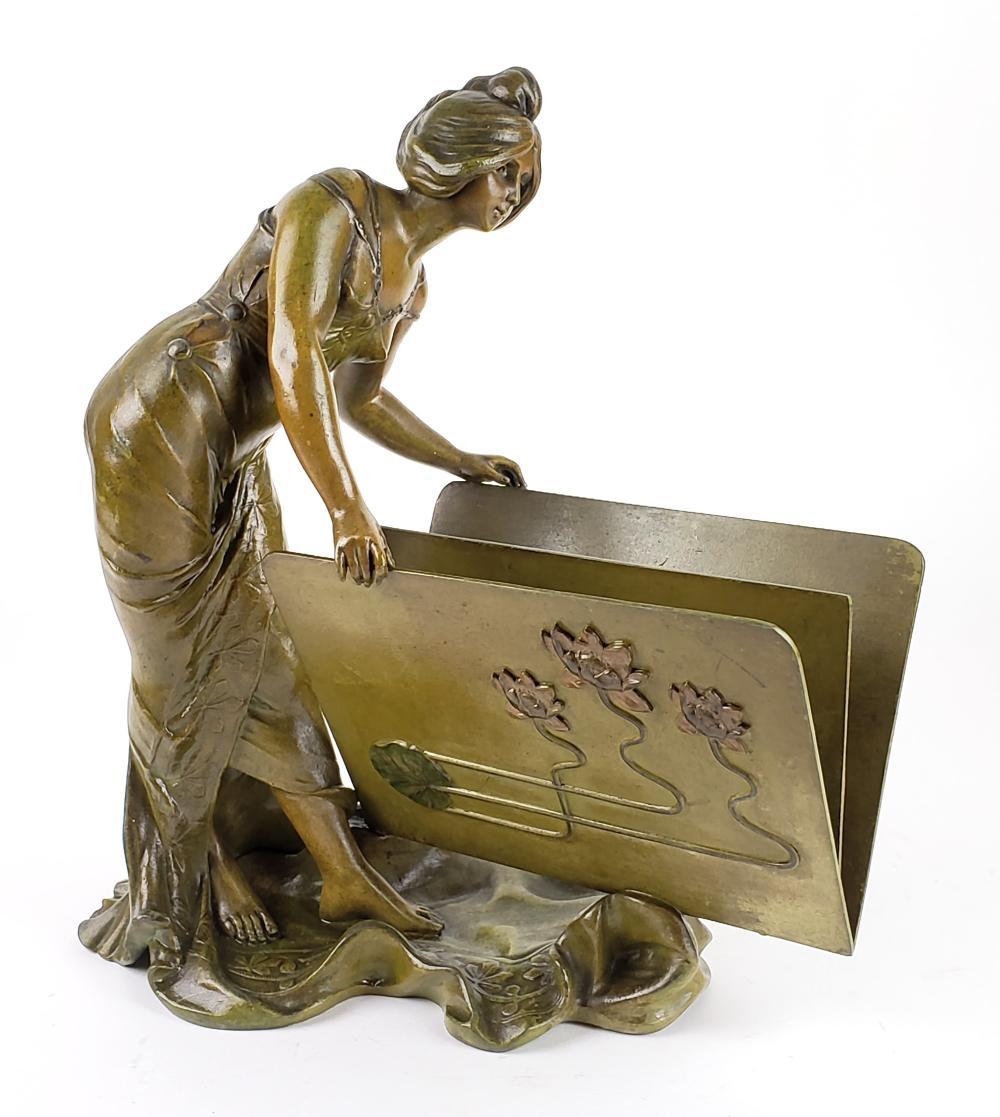 Magnificent Art Deco Bronze Figure of Woman w/ Book Signed V. Herig