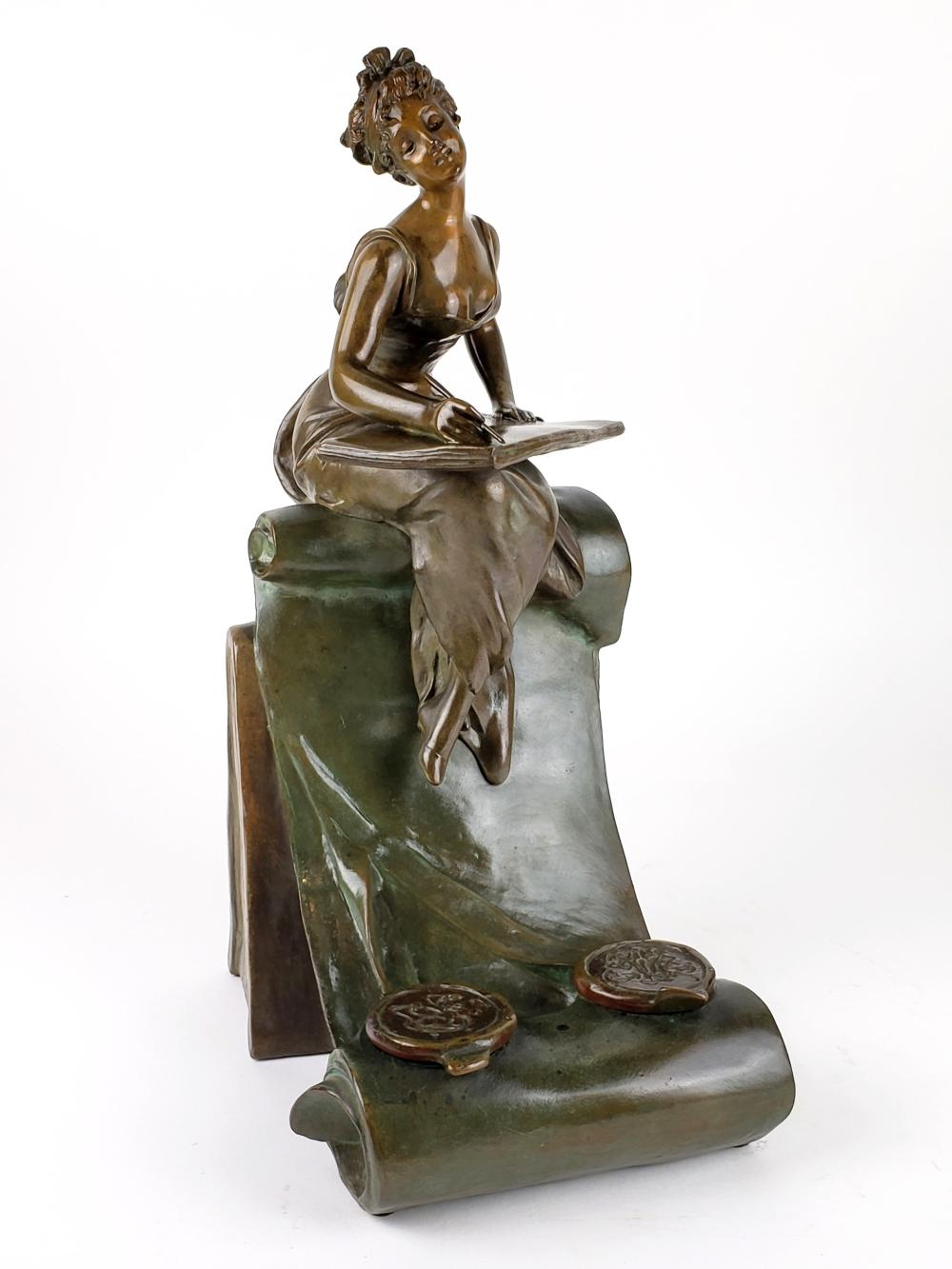 Magnificent 19th C. Art Noveau Bronze Statue Inkwell Signed Van Der Straeten