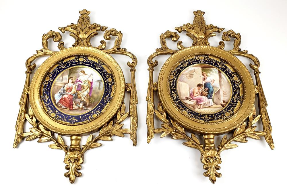 Pair of Magnificent 19th C. Framed Sevres Porcelain Plates