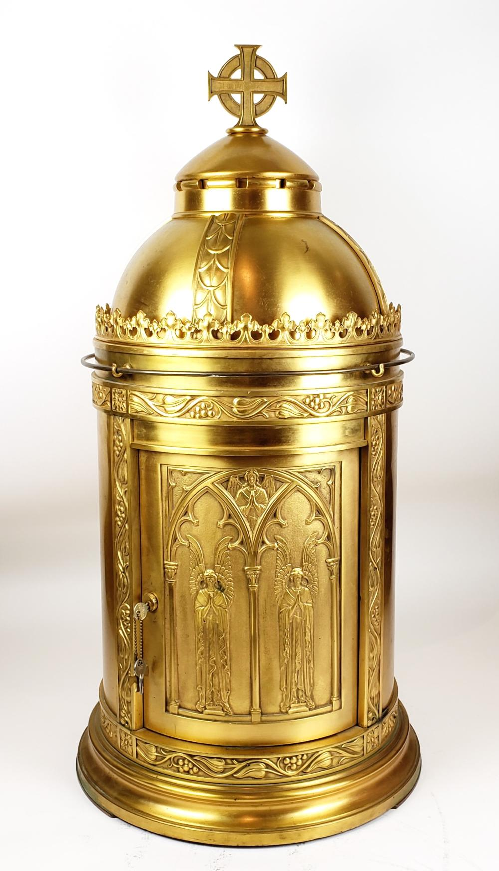 Monumental Late 19th C. Gilt Bronze Cathedral Temple Form Vessel