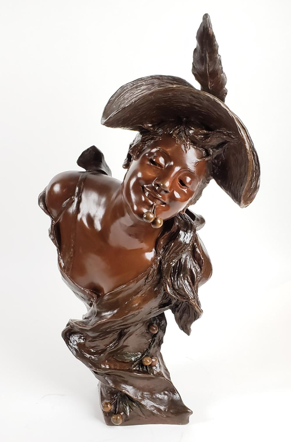 Magnificent 19th C. Van Der Straeten Signed Art Noveau Bronze Statue