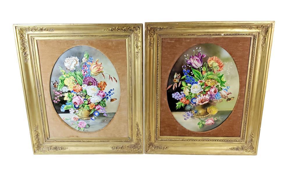 Pair of 19th C. KPM Floral Porcelain Plaques Signed J. Gislet