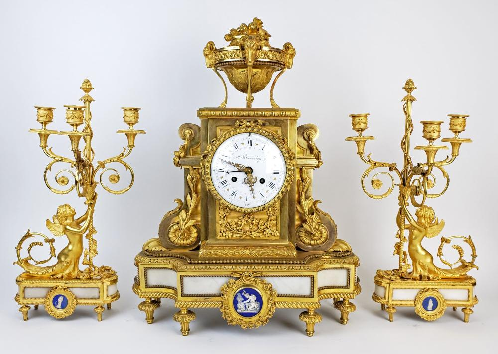 19th C. Beurdeley 3 Pc. Gilt Bronze Mounted Marble Clockset w/ Wedgewood Plaques, Circa 1880