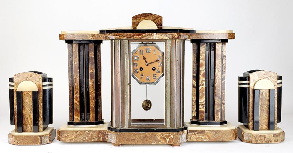 3 Pc. Marble Art Deco Clockset, Circa 1940
