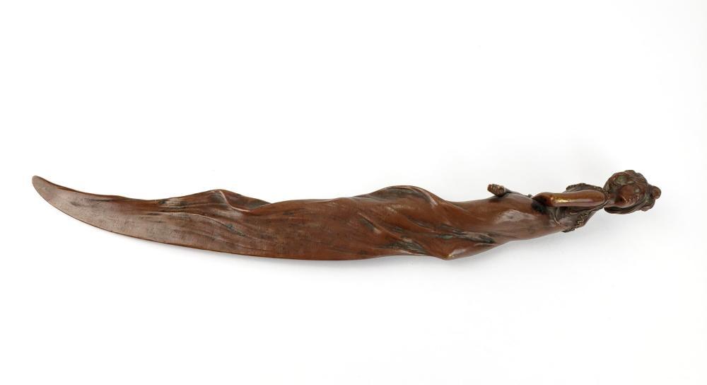 19th C. Bronze Figural Letter Opener, Signed