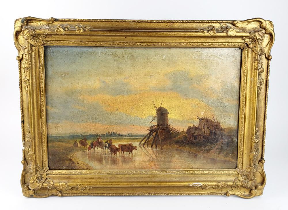 19th C. Russian Oil on Canvas of Farm Scene, C. 1869