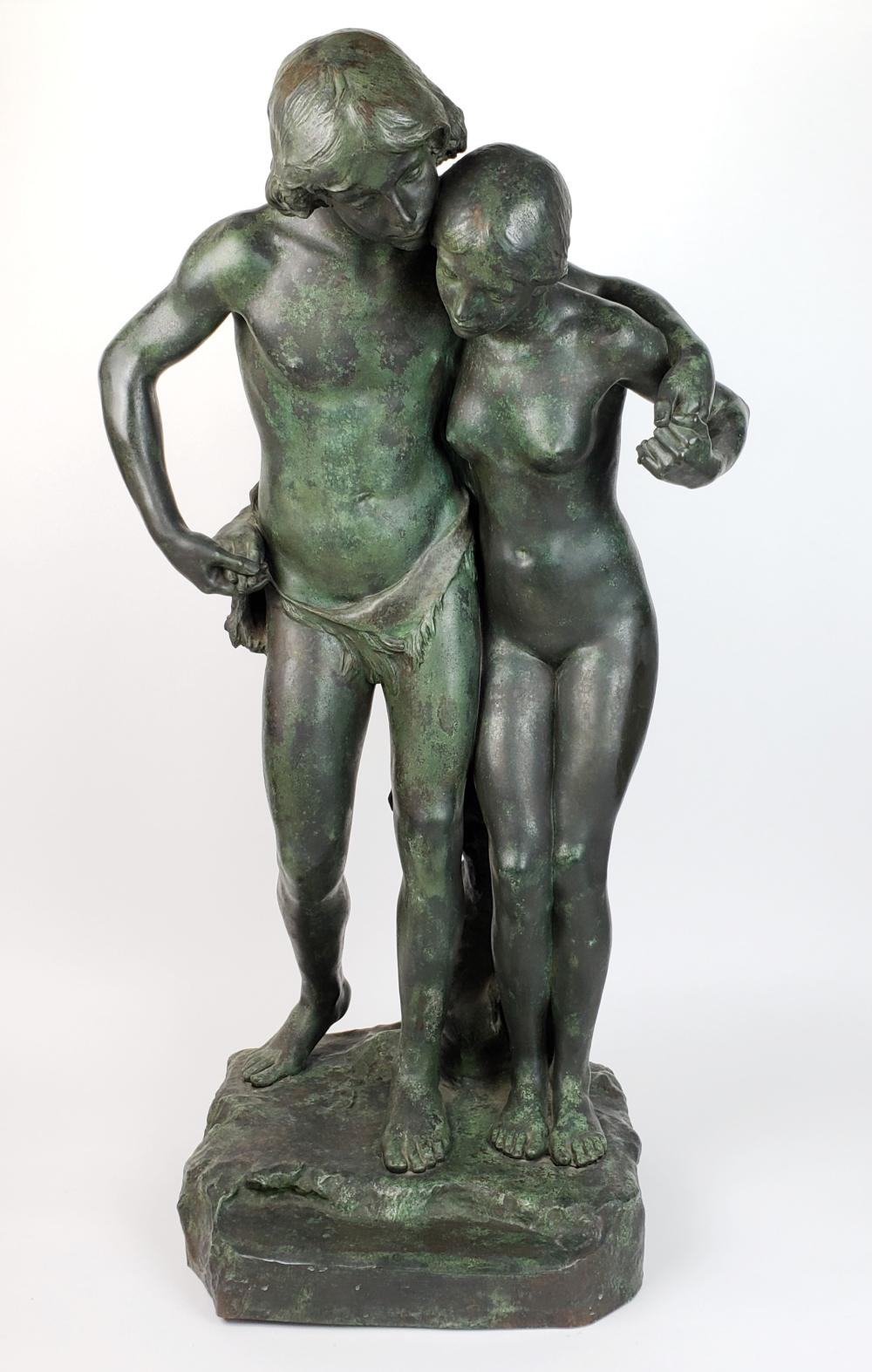 """19th C. Bronze Statue """"Paul & Virginia"""", Signed J. Escoula with Foundry Stamp"""