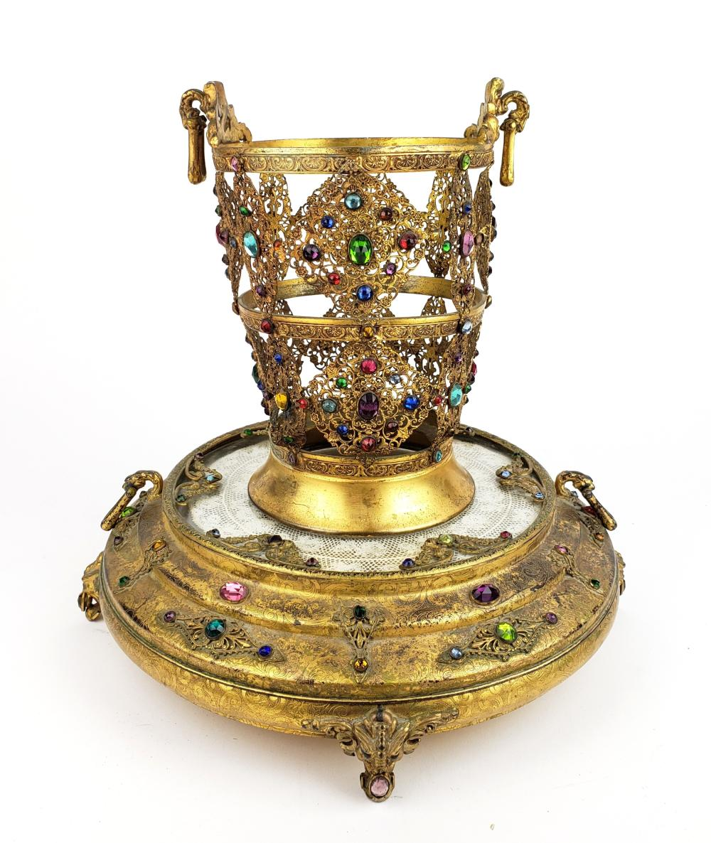 French Jewlled Centerpiece and Base with Crystal Plate Insert