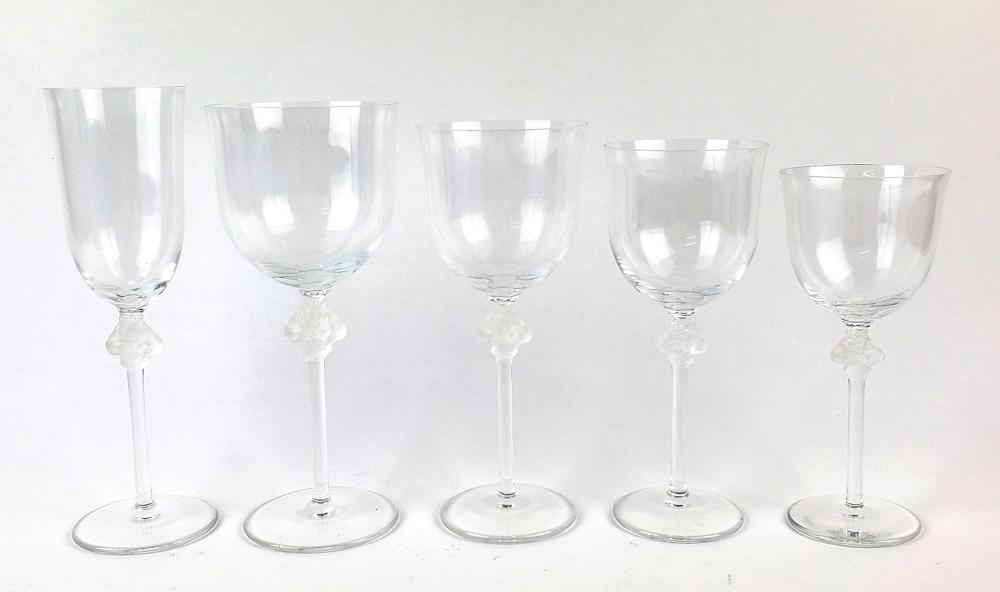 Lalique 65 Pc. Figural Wine Glasses Set