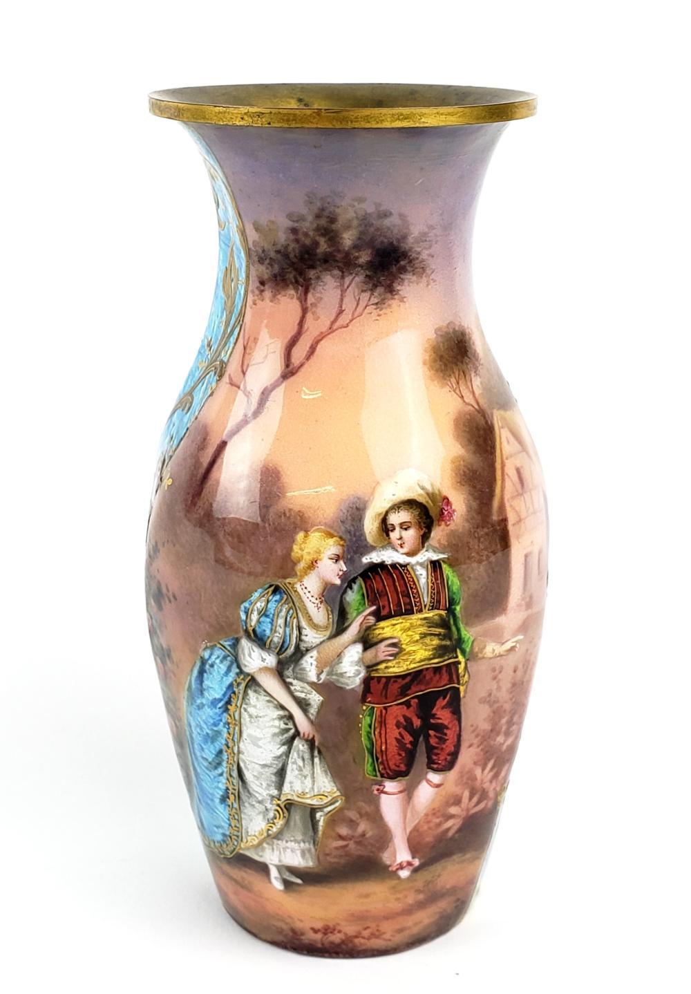 Austrian Viennese Enamel Vase