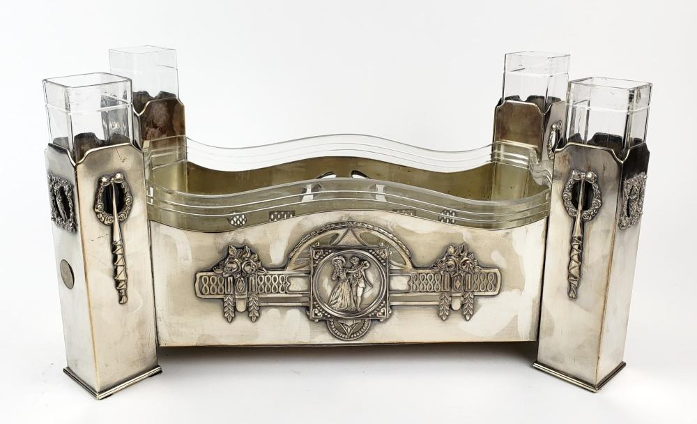 A Fine Silverplated Centerpiece w/ Glass Insert