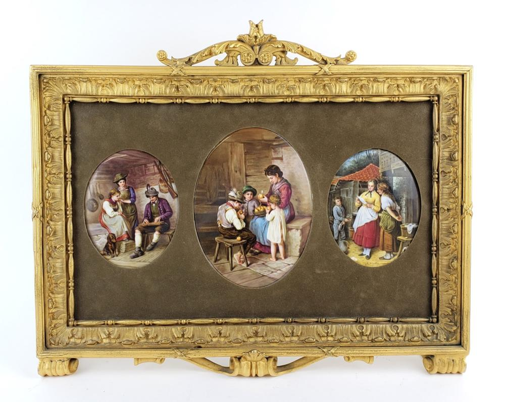 19th C. Framed Set of 3 German Porcelain Plaques
