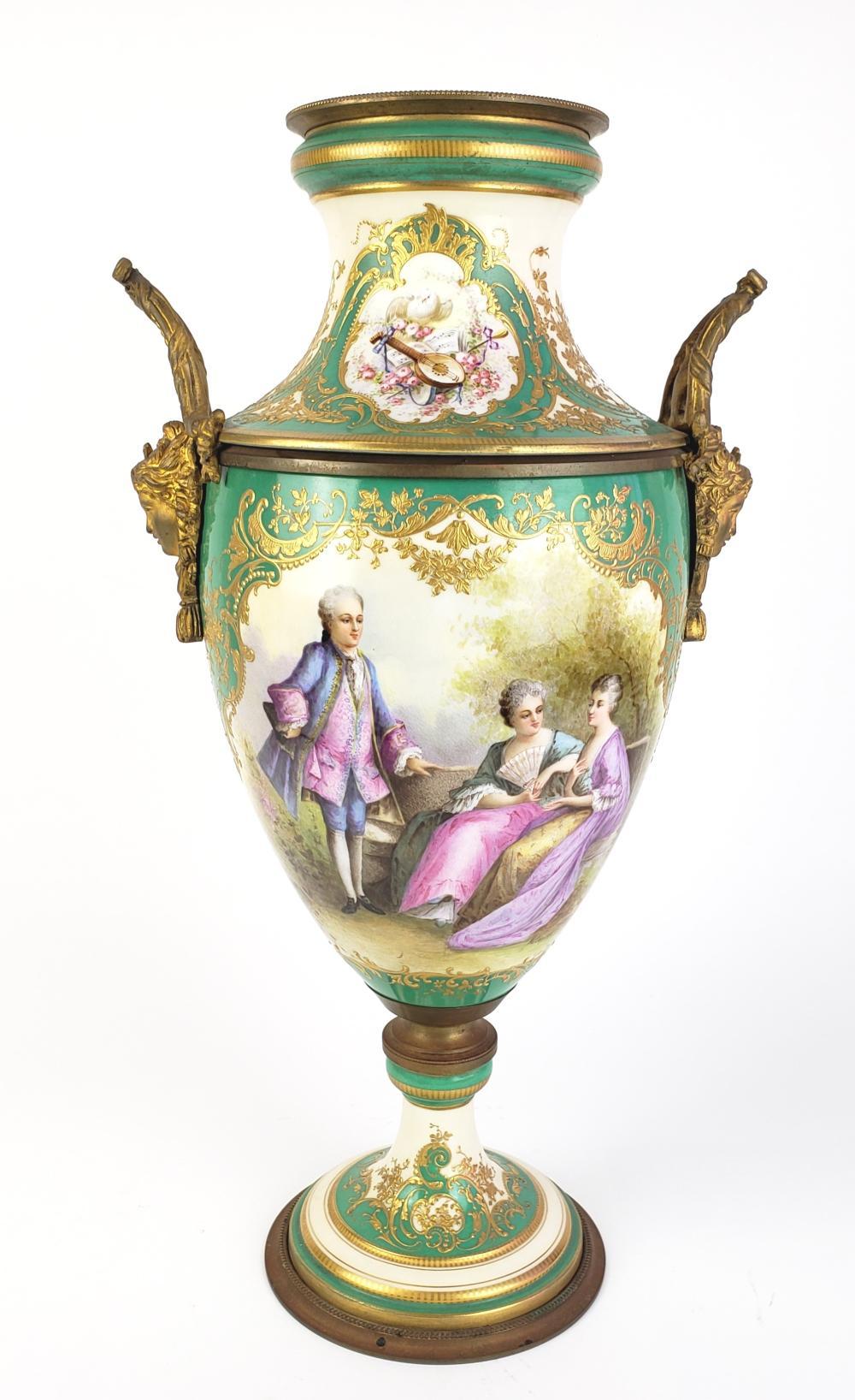 Large Sevres Style Porcelain & Bronze Vase