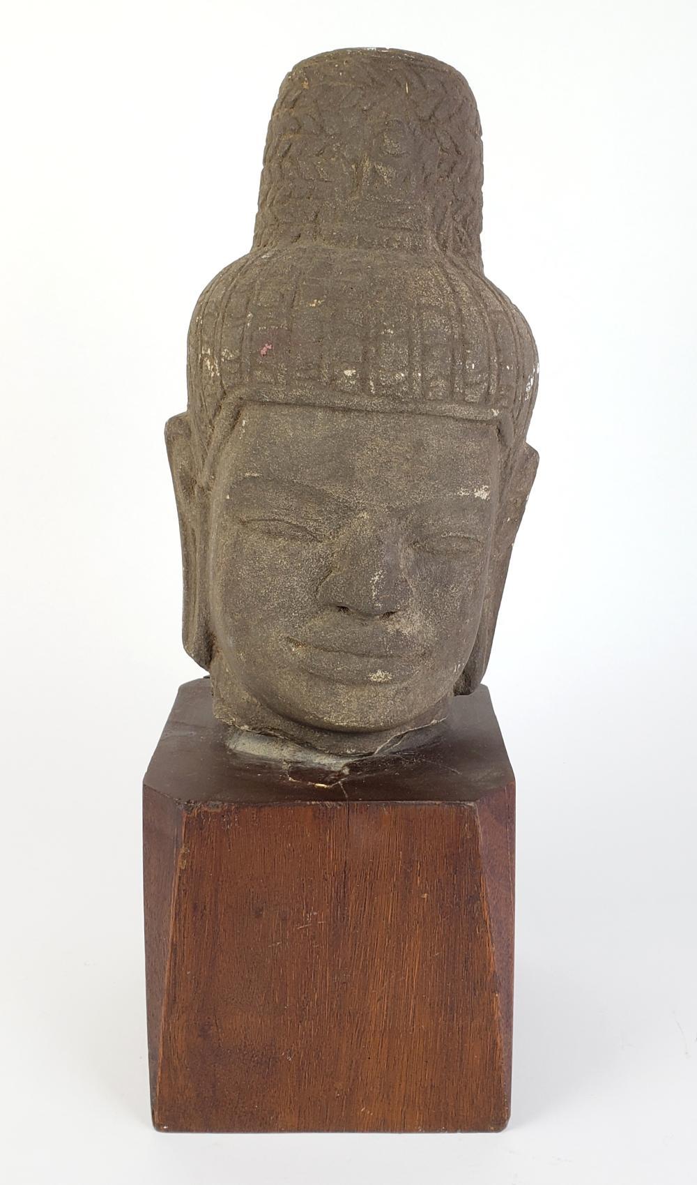 Stone Buddha Bust on Wooden Base