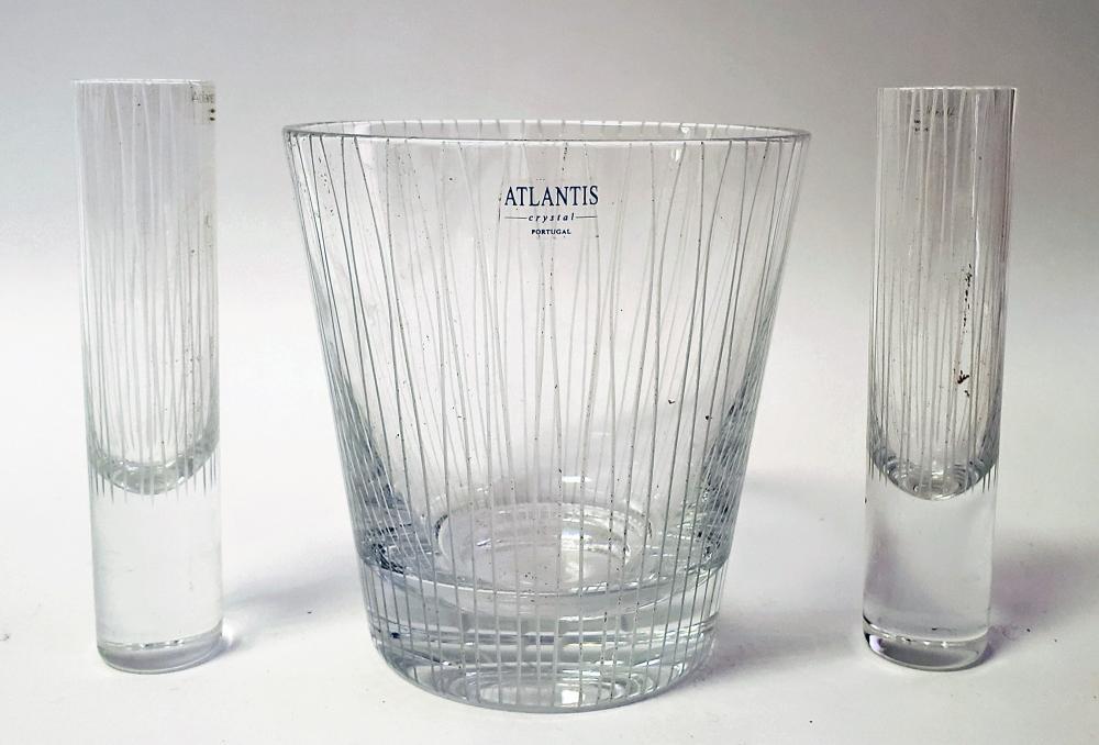 Atlantis Crystal Bucket & Pair of Glasses
