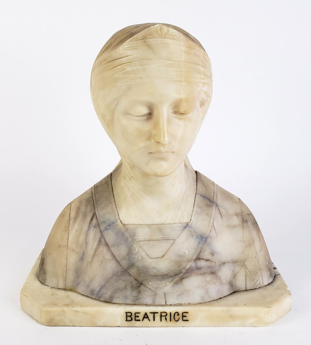 """19th C. Marble Bust """"Beatrice"""""""
