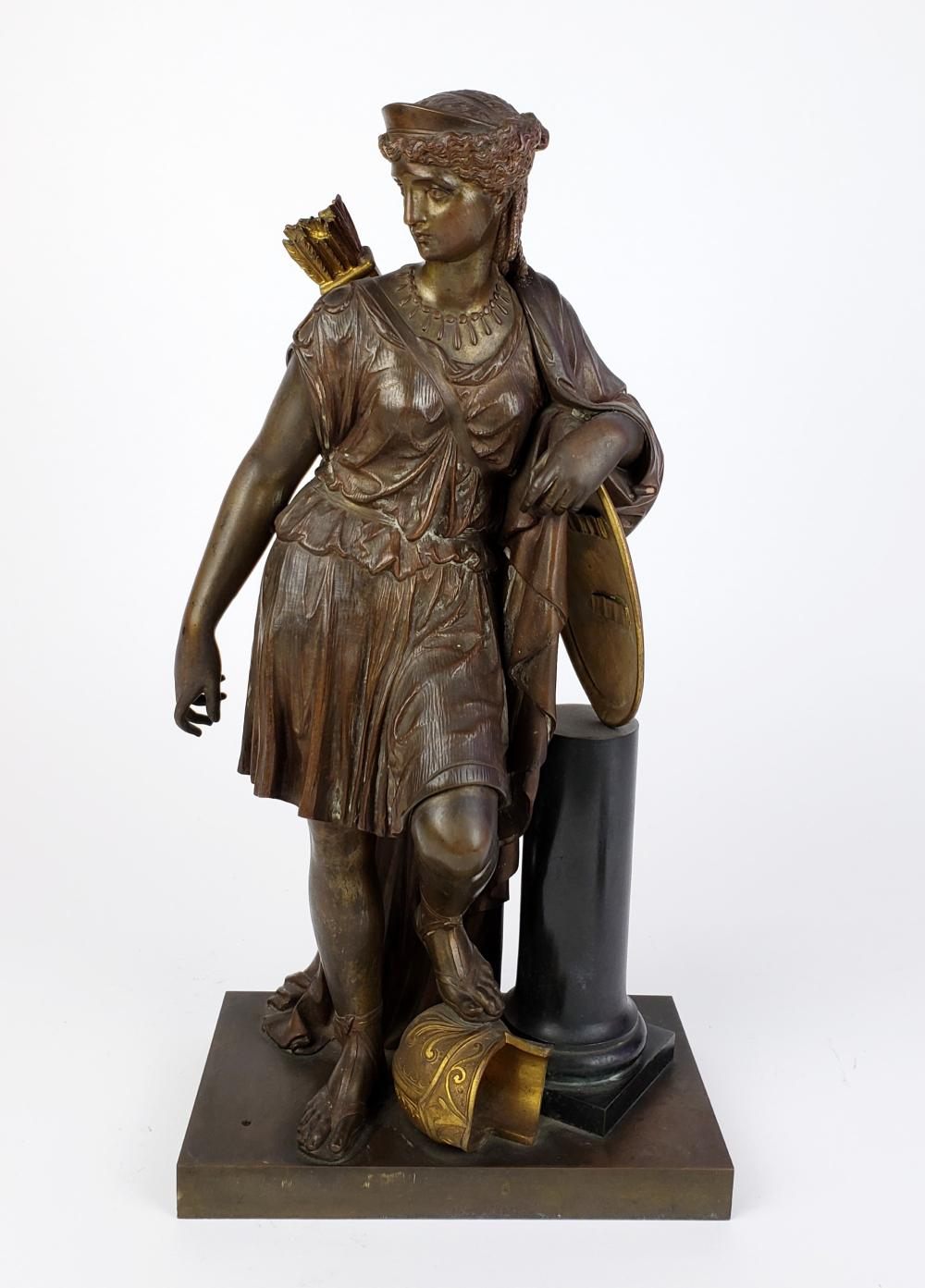 19th C. Gilt & Patinated Bronze Figure Signed Bouret