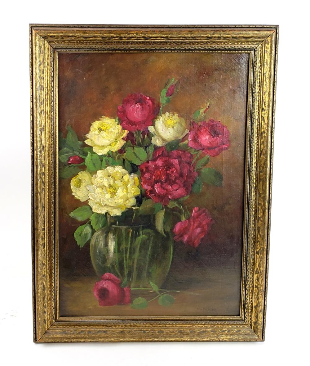 """19th C. H.L. Sawyer """"Still Life Fruit"""" Oil on Canvas Signed"""