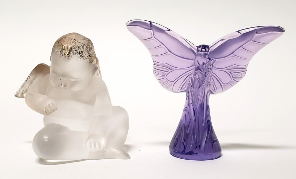 Lalique Crystal Figures of Purple Butterfly & Cherub