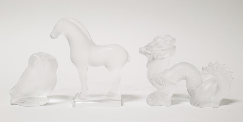 Set of 3 Lalique Crystal Figures of Horse, Dragon, and Owl