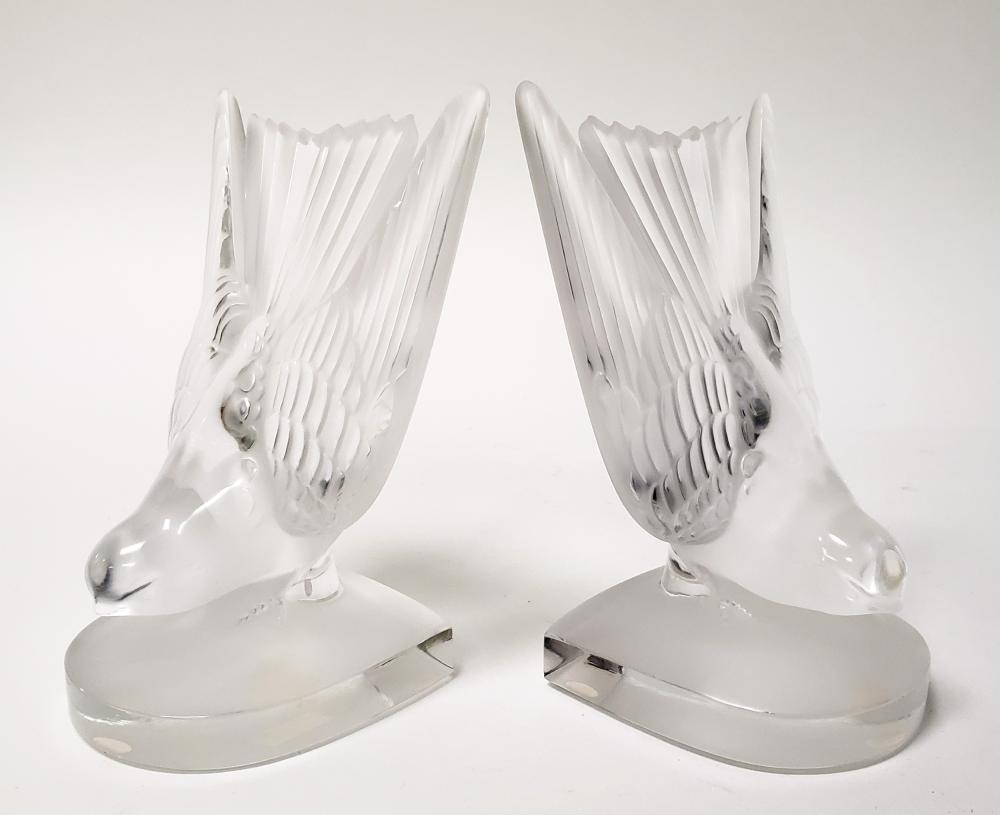 Pair of Lalique Crystal Bookends of 2 Doves