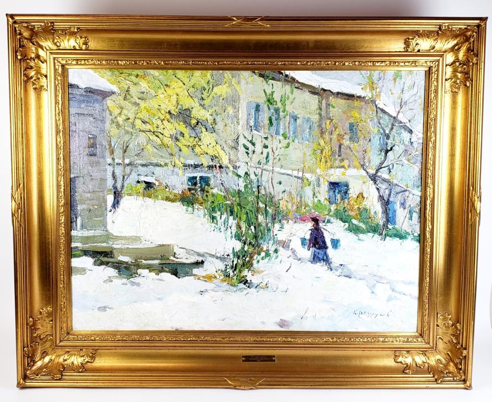 "Large Russian Oil on Canvas ""Water Carrier"" Signed Konstatin Alekseevich Shurupov"