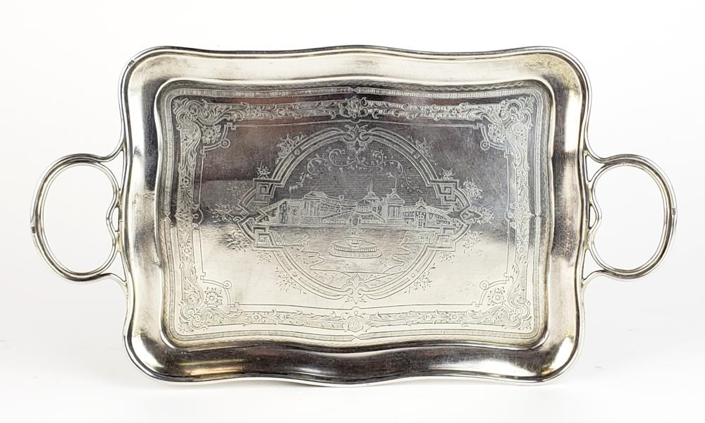 84 Silver Hand Engraved Handled Tray