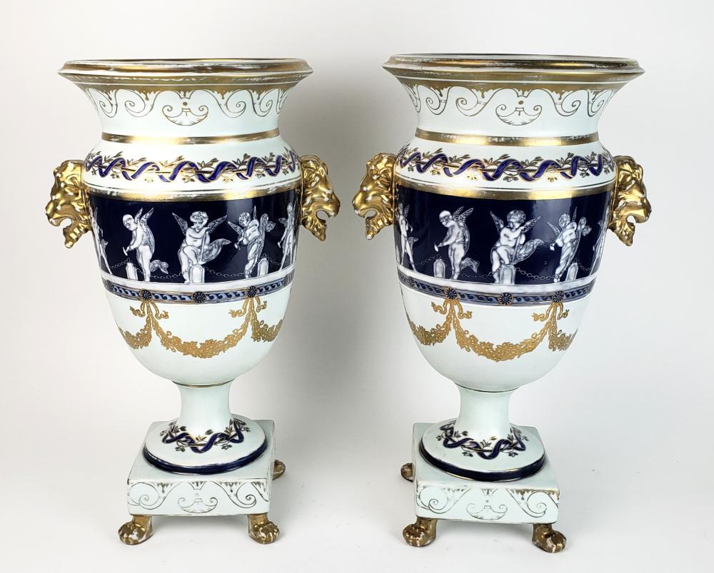 Pair of Large Minton Pate Sur Pate Style Figural Porcelain Vases