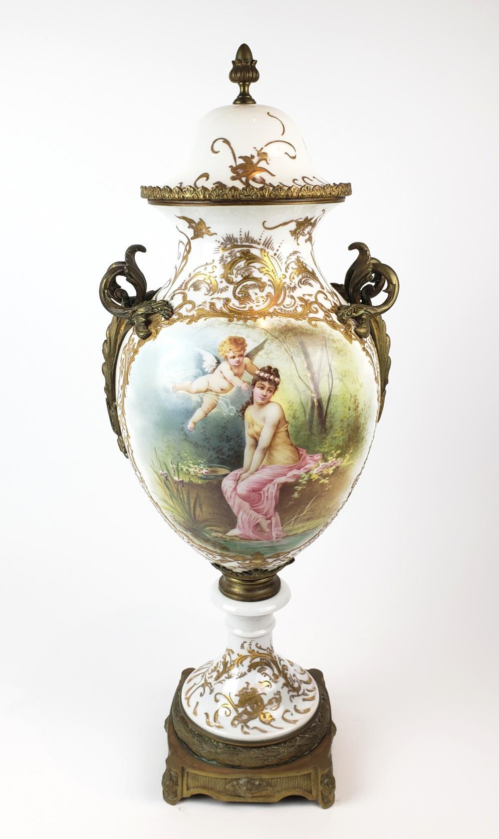Large 19th C. French Sevres Porcelain & Bronze Vase w/ Lid