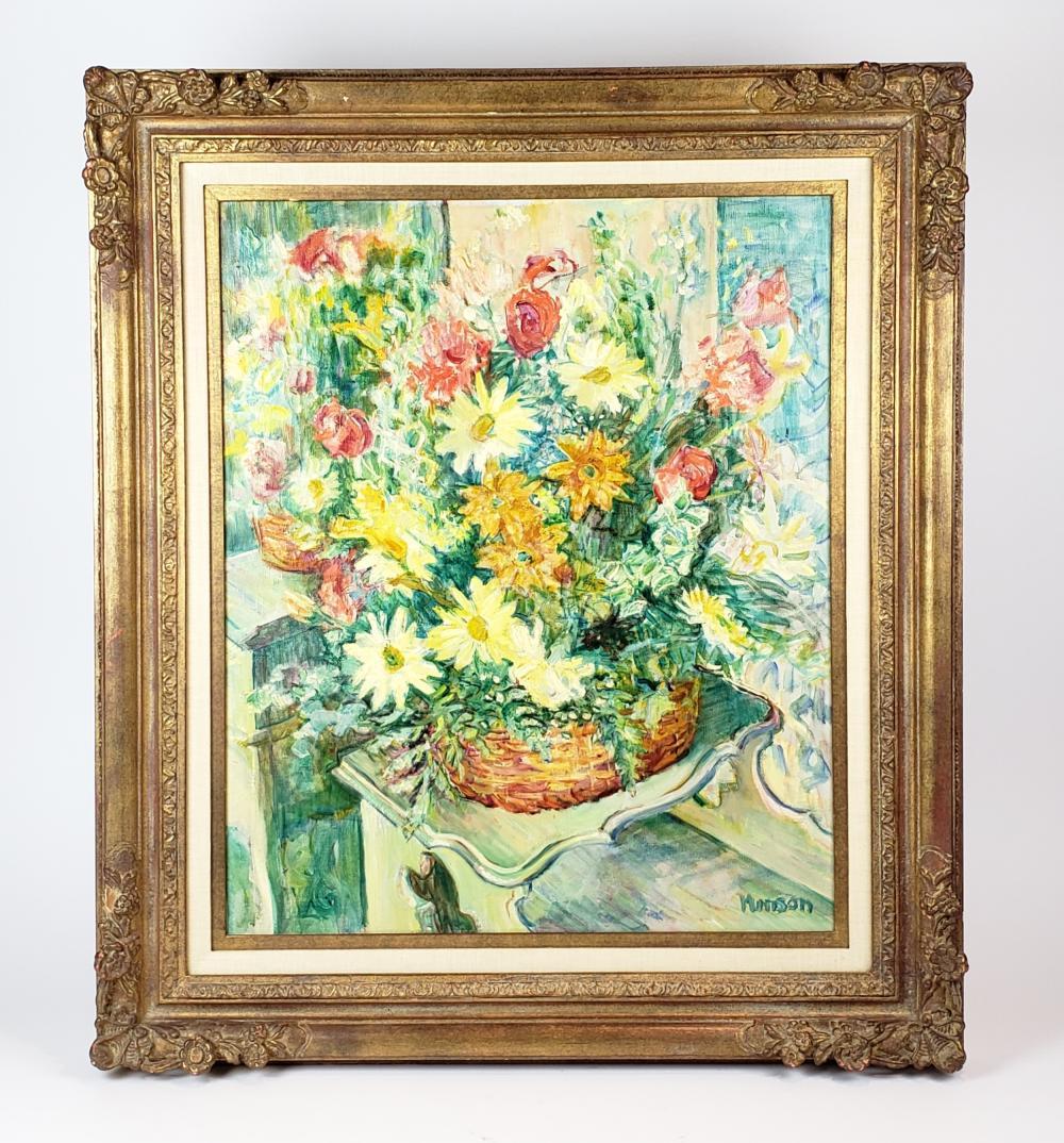 "Munson Mandias ""Still Life Flowers Painting"""