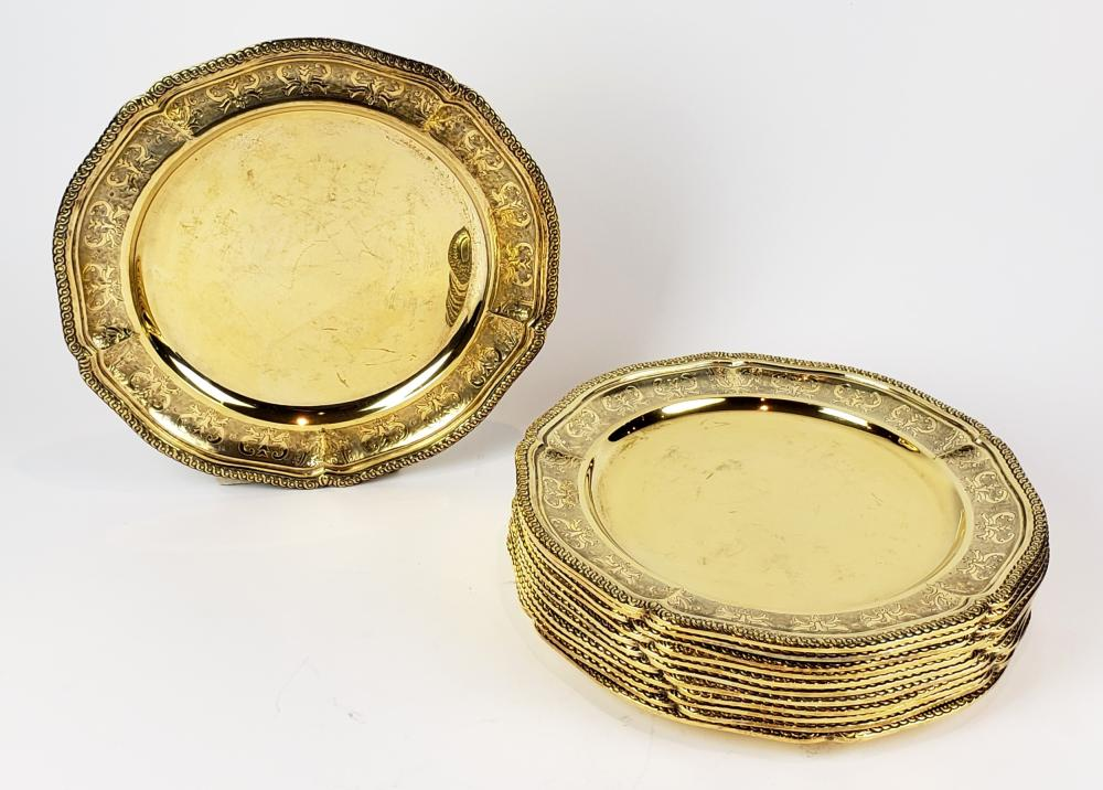 Set of 12 Tane Mexican Gilt Sterling Silver Chargers from the Estate of Zsa Zsa Gabor