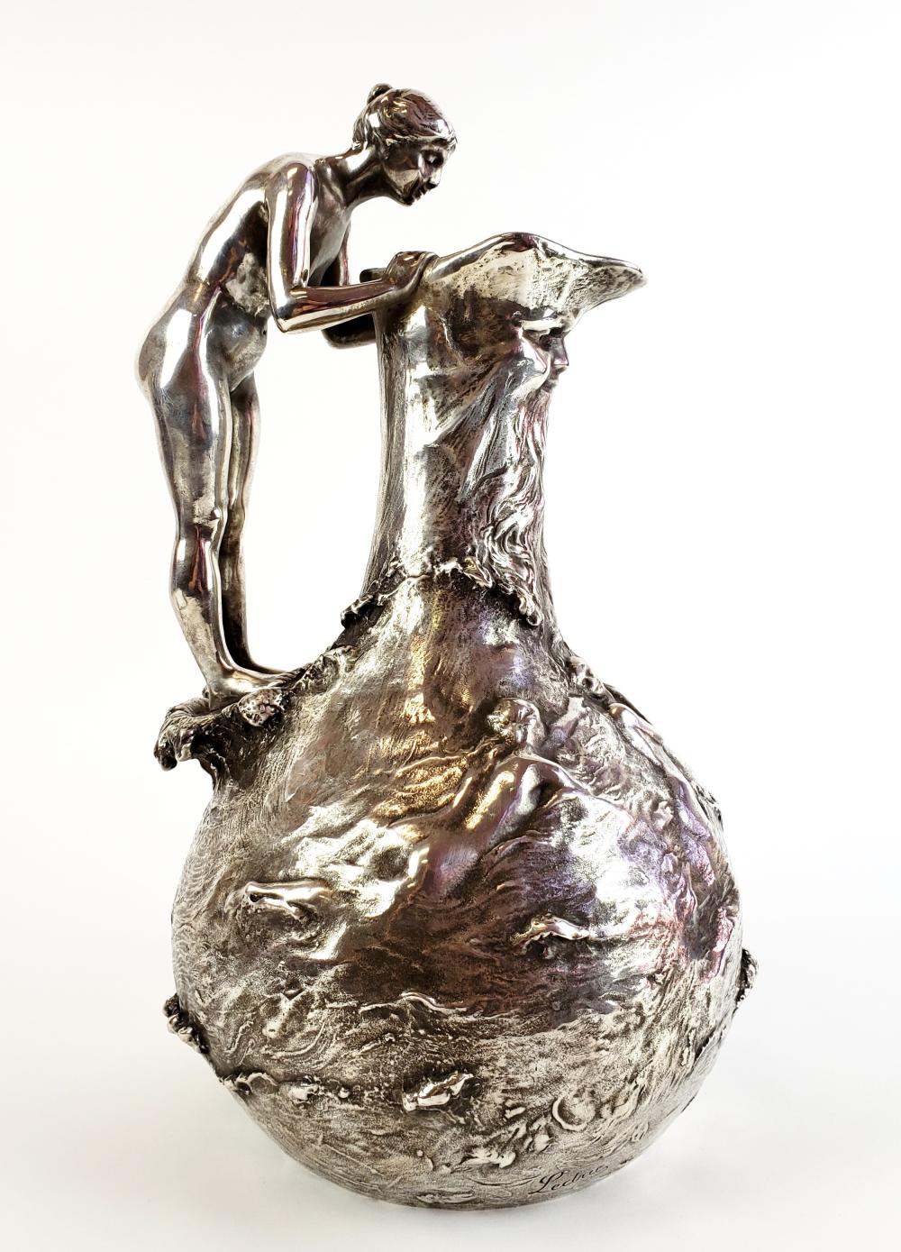 Large Ledru Signed 19th C. Silverpted Figural Jardeniere w/Foundry Mark