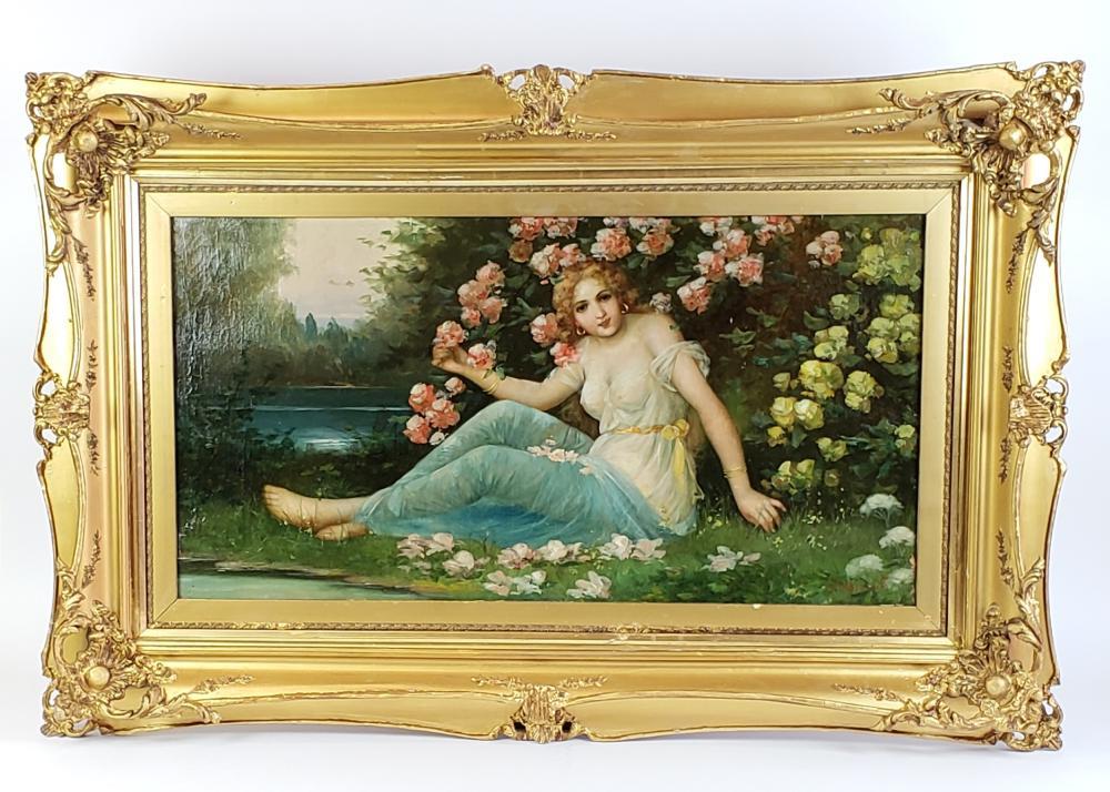 "Large Zatzka 19th C. Orientalist Painting of Woman in Garden, Signed ""J. Bernard"""