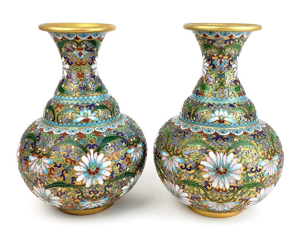 A Pair of Fine Bronze & Enamel Cloisonnse Vases