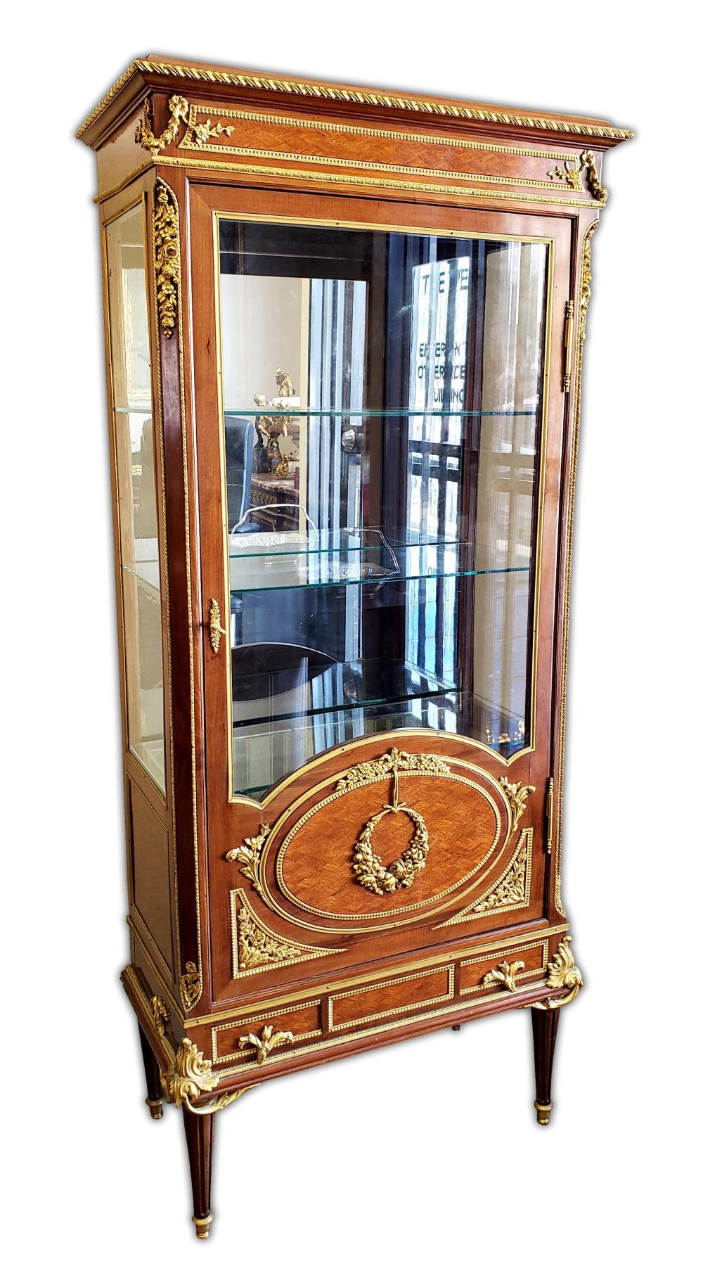 19th C. French F. Linke Att. Bronze Mounted Kingwood Vitrine Cabinet