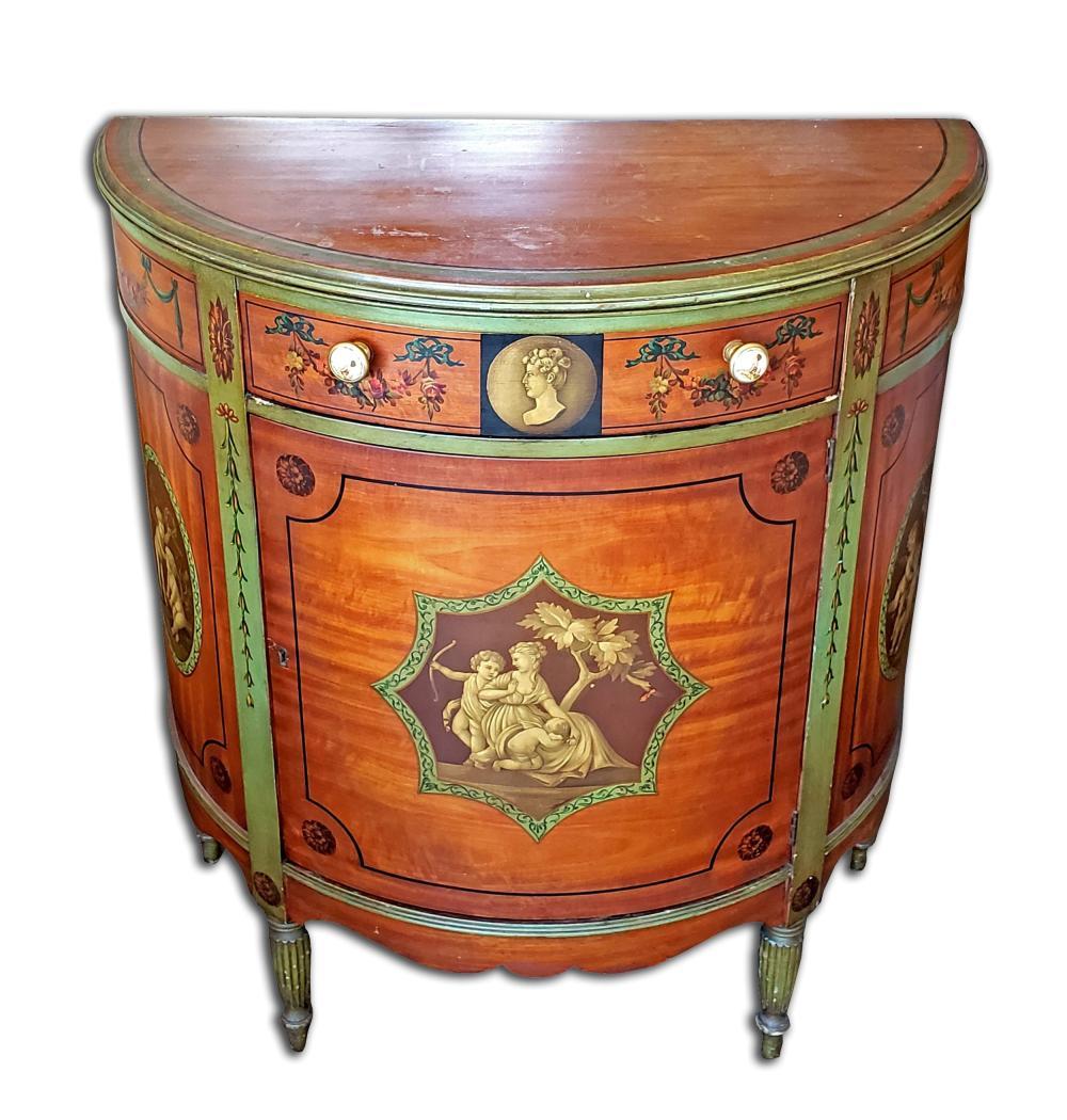 An American Johnson-Handley-Johnson Handpainted Cabinet