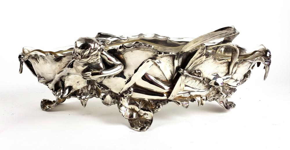 A WMF Figural Silverplated & Crystal Centerpiece