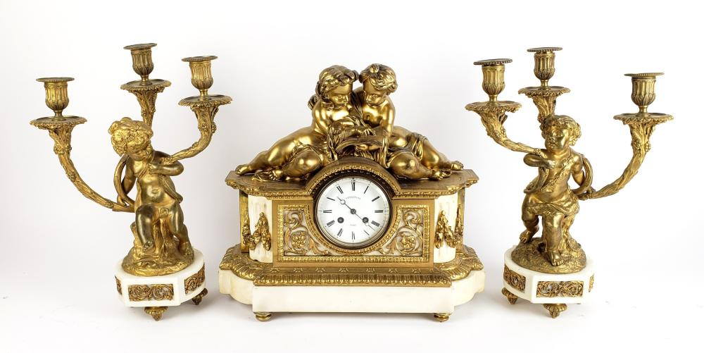 A 19th C. Tiffany & Co. Gilt Bronze & Marble Figural Clockset