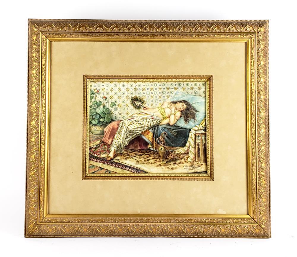 19th C. Orientalist Watercolor of Woman Signed Simonetti