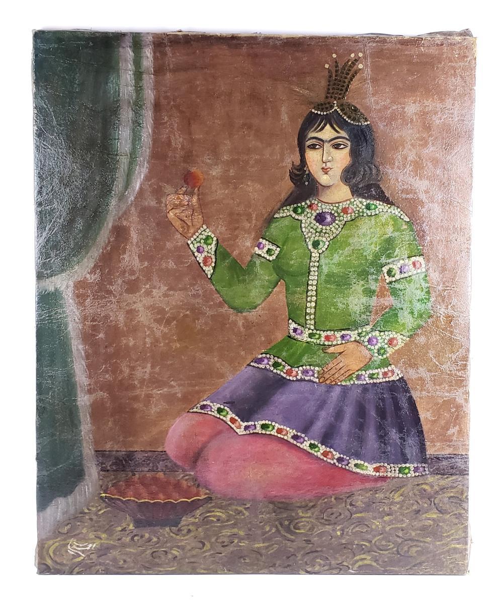 19th C. Perisan Qajar Oil on Canvas