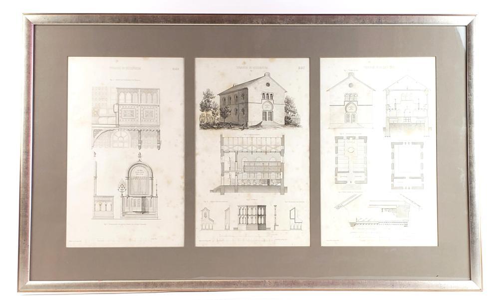 A Judaica Set of Framed Blueprints of a Synagoge