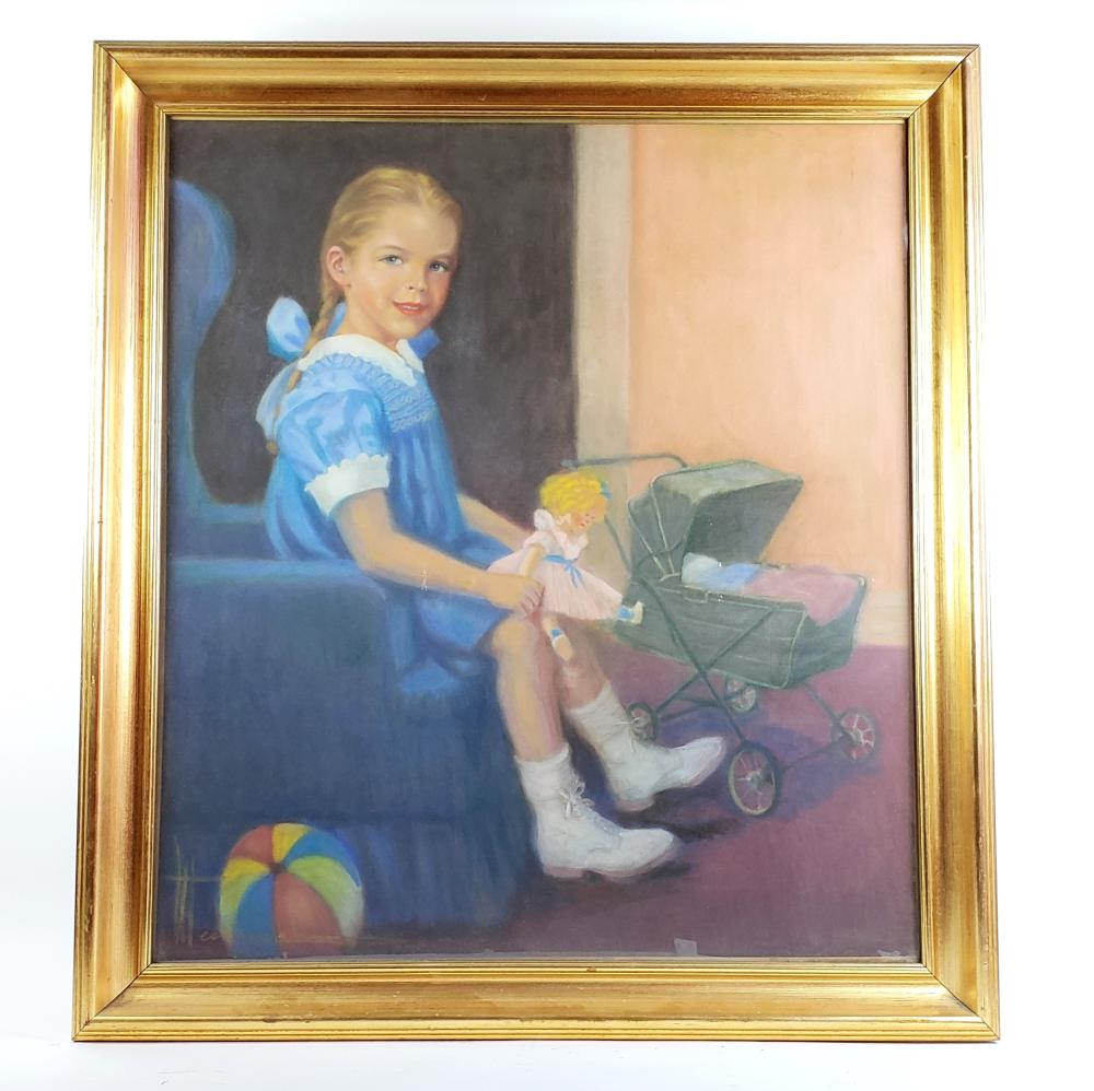 A Large Pastel Watercolor of Girl with Toys